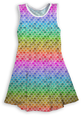 Rainbow Mermaid Scales Sleeveless Dress