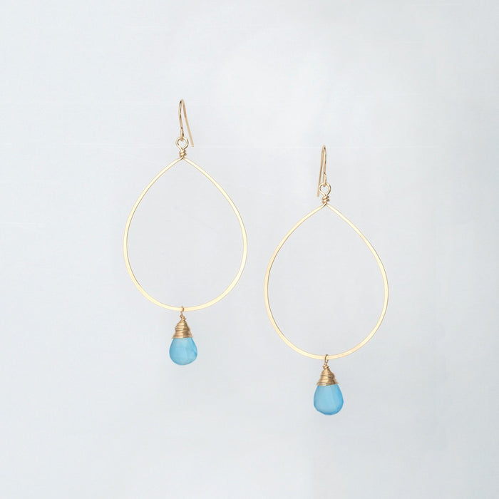 Large 14K Gold Forged Teardrop Earrings Sky Blue Chalcedony Drop