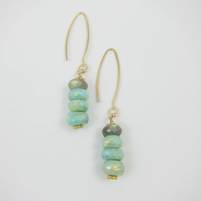 Peruvian Opal and Labradorite Stack earrings on 14k gold filled wires