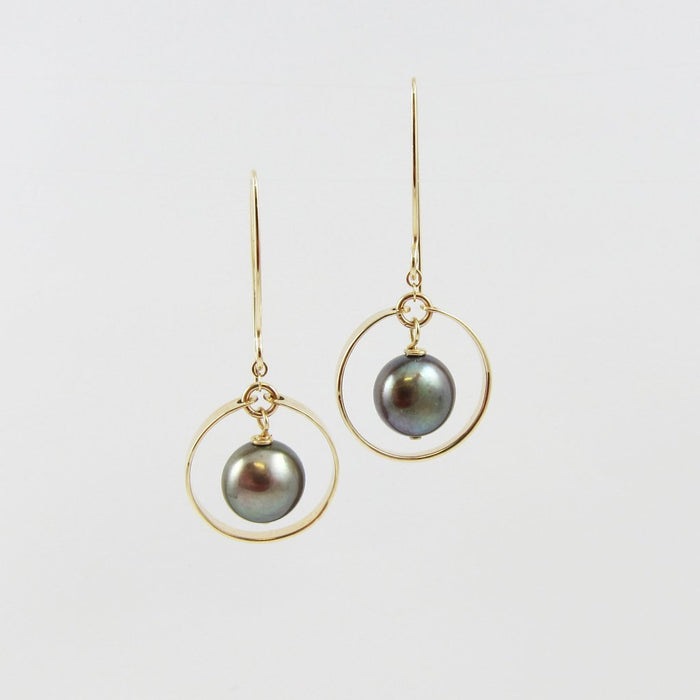 Forged Circle Earrings with Peacock Pearl