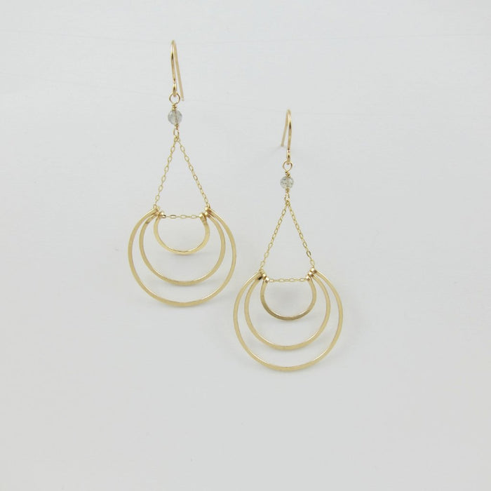 Forged 14k Gold Filled Triple Crescent Earring with Labradorite Accent