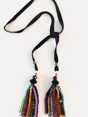 Tassel Tie Necklace - Black Suede