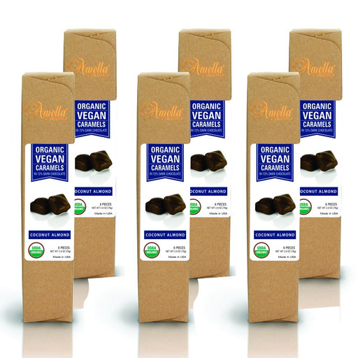 ORGANIC VEGAN COCONUT ALMOND CARAMELS IN 72% DARK CHOCOLATE, 16.8 OUNCES (6 PACKS - 6 PCS/PACK)