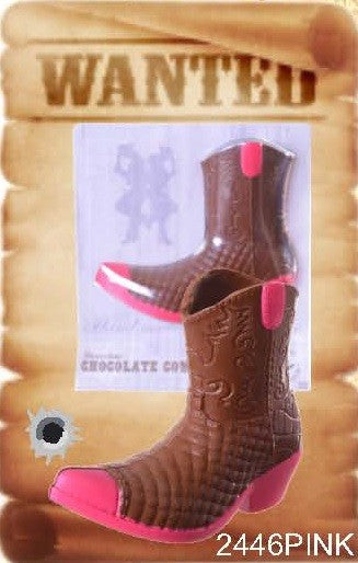 Chocolate Cowboy Boot - Pink
