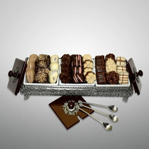 Three Sectional Elegant Pewter Chocolate Basket