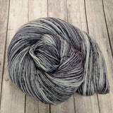 Hand dyed sock yarn ,dk yarn, worsted yarn , grey semi-solid