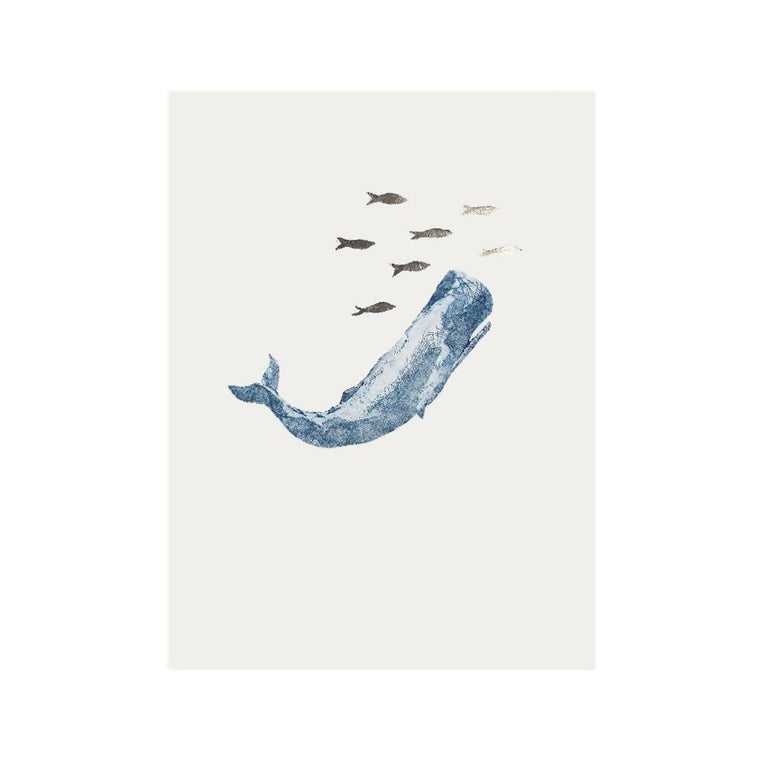 Sperm whale Original Collagraph – can be personalised