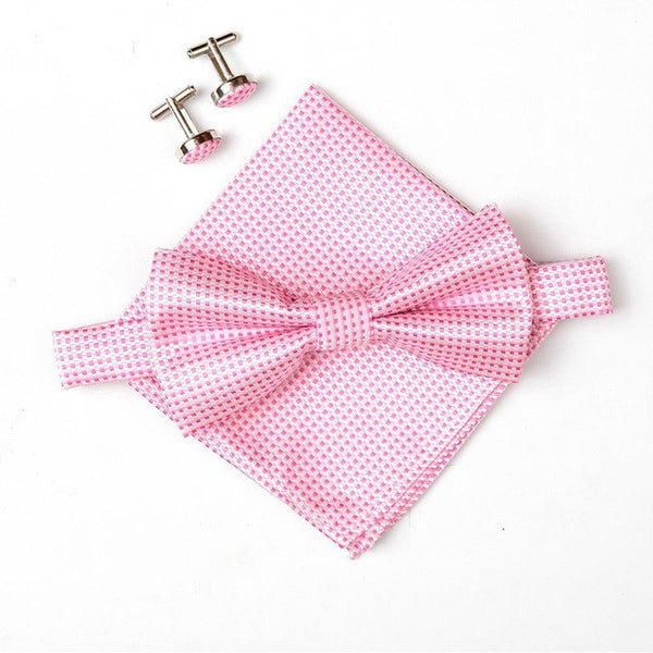 2016 Hot sell men's neck ties set bow tie hanky cufflinks butterfly Pocket square