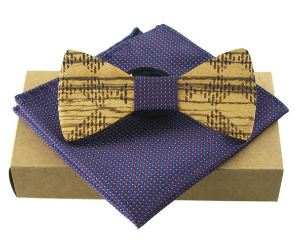 RBOCOTT Fashion Novelty Paisley Wooden Bow Tie And Handkerchief Set Men's Plaid Bow Tie Wood Hollow Floral Wooden Bowtie And Box