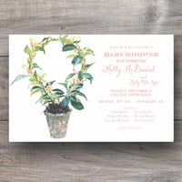 shower invitations with espalier plant in pot