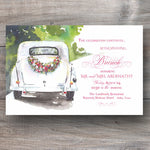 post wedding brunch invitations with antique car decorated with floral swag