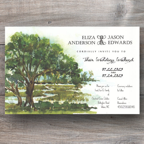 scenic invitations with view of coastal marsh with tree and tide