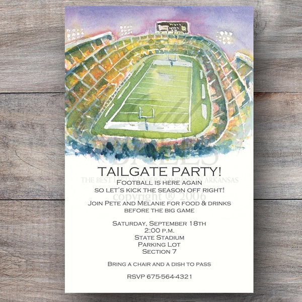 football super bowl party invitations with football stadium at night
