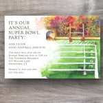 football super bowl party invitations with football field with hash marks