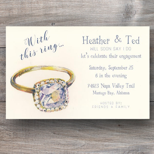 engagement party invitations with watercolor image of diamond ring with real crystals