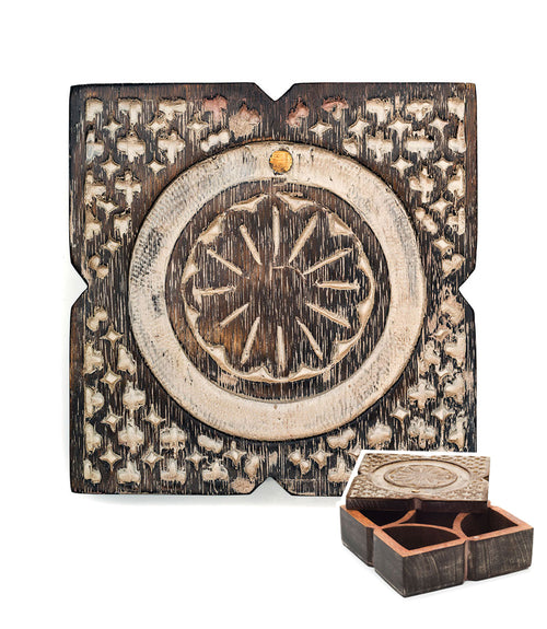 Antique Finish Pivot Box - Square