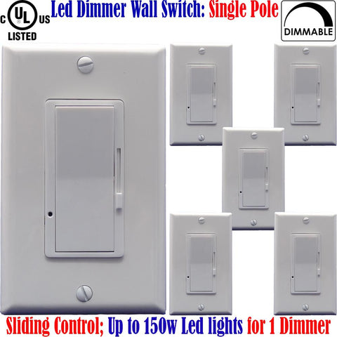 Led Dimmer: Canada 6pack Single Pole Dimmable Switch White Plates 150w