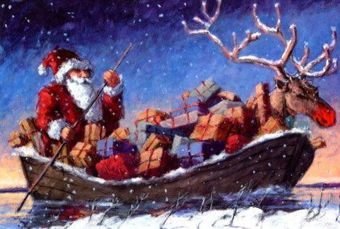 Xmas Boat by Peter Wever - 5 X 7 Inches (Greeting Card)