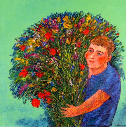 Boy with Wild Flower Bouquet, 2001 by Rob Brouwers - 6 X 6 Inches (Greeting Card)