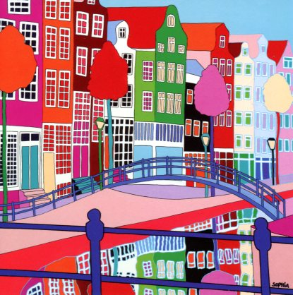 Brouwersgracht, Amsterdam, 2007 by Sophia Heeres - 6 X 6 Inches (Greeting Card)