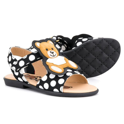 Moschino Leather Polka Dot Teddy Sandals
