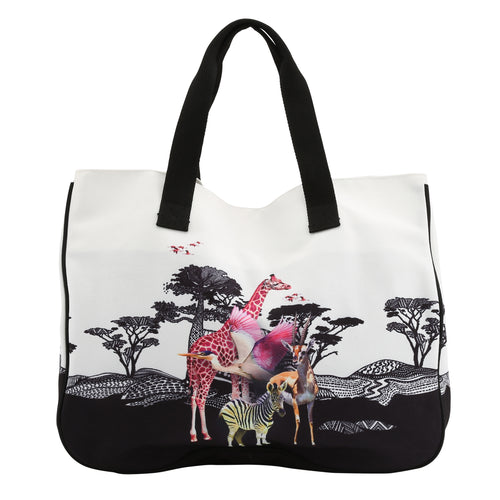 Large Safari Animals Beach Bag