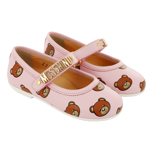 Moschino Leather Pink Teddy Shoes