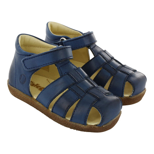 Navy Sand Leather Sandals