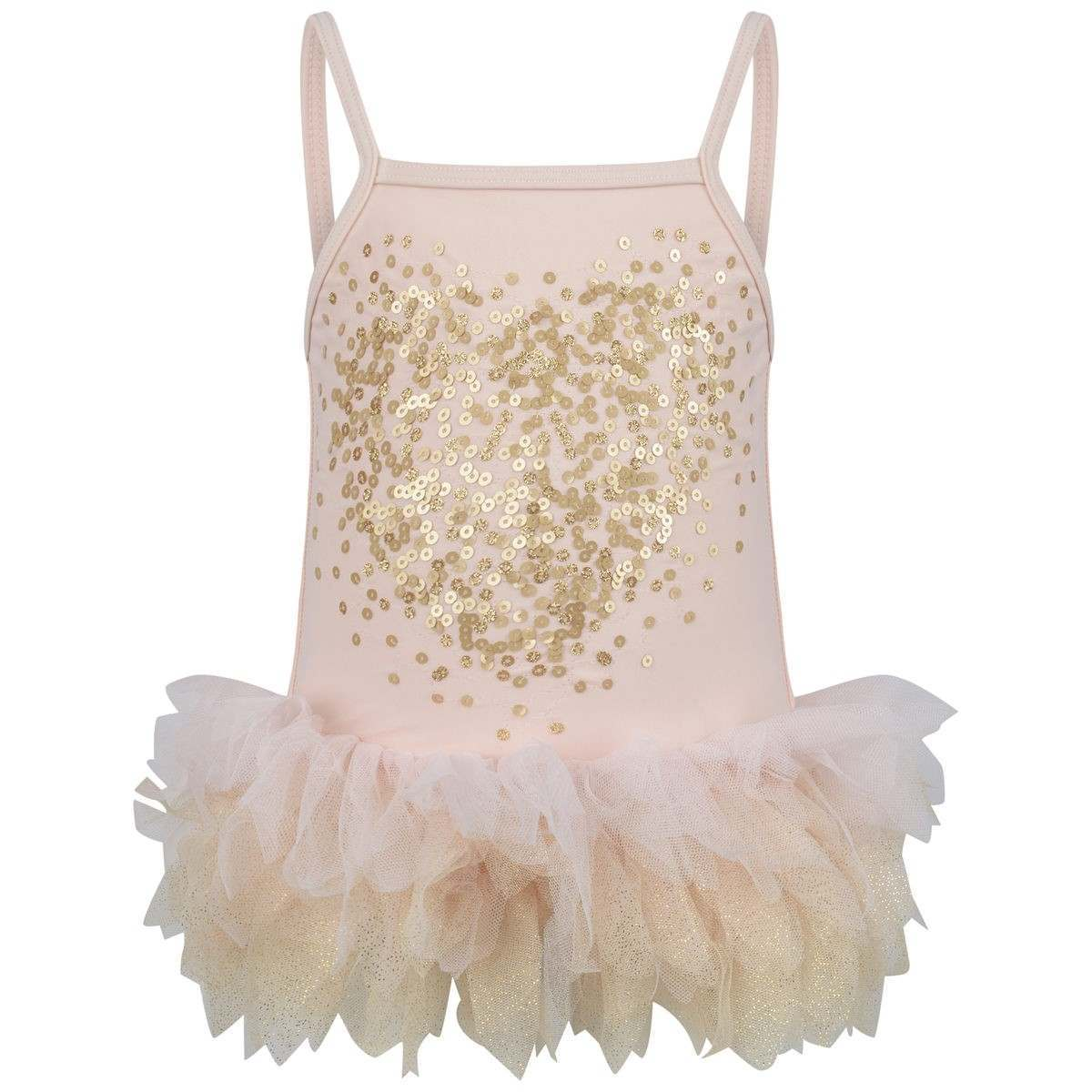 UV50+Pink & Gold Sequin Tulle Swimsuit