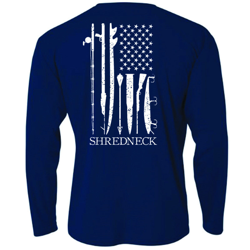 Shred, White & Blue Perf. LS - Navy