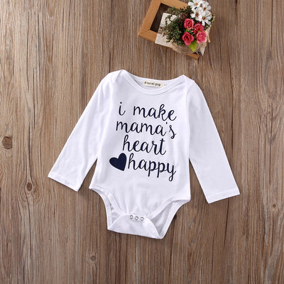 Newborn Baby Girls Boys Clothes Long Sleeve Romper i make mama happy Jumpsuit Outfits Suit