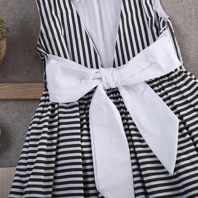 Toddler Kids Baby Girls Summer Striped Bow Dress Sleeveless Princess Party Backless Dresses