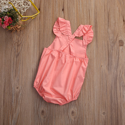 Summer Newborn Baby Girl Romper Clothes Summer Ruffled Sleeve Solid Baby Rompers Toddler Kids Jumpsuit Outfits Sunsuits