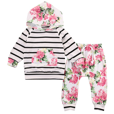 Kids girls Autumn clothing sets Floral Baby Girls Long Sleeve Hooded Top +Pants Outfits 2 PCS Hooded Clothes Set