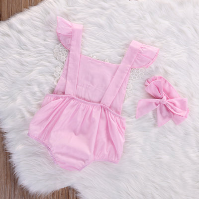 Newborn Infant Baby Girls Pink Lace Floral Romper Backless Jumpsuit Outfits Set +headband Sunsuits 0-18M