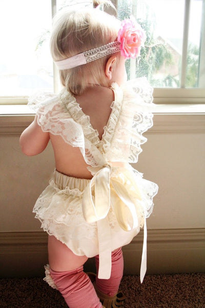 New summer baby romper Girl's princess white lace Romper baby clothes Newborn Backless Jumpsuit
