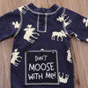Infant Baby Girl Boy Deer Printed Long Sleeve Romper Jumpsuit Christmas Pajamas Outfits