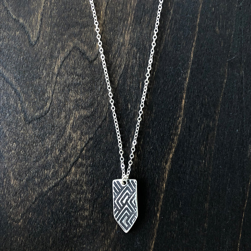 Jester Swink - Double Sided Arrow Pendant with Texture - Back