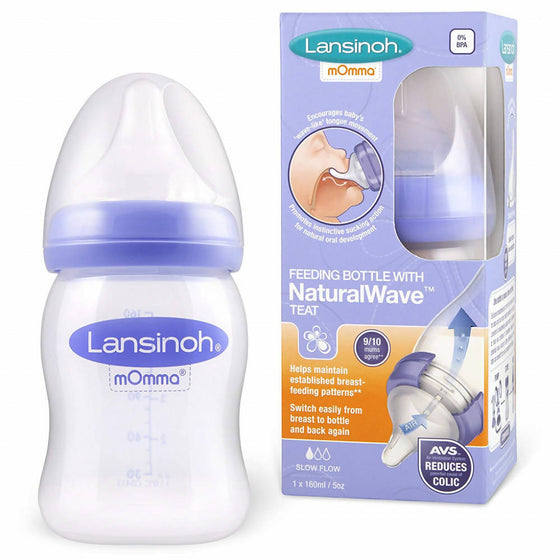 LANSINOH FEEDING BOTTLE WITH NATURAL WAVE TEAT(160ML)