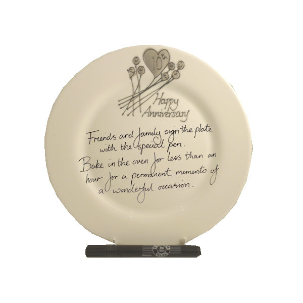 10th Wedding Anniversary Plate Round Flower