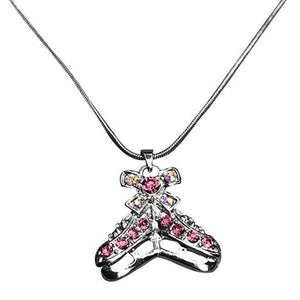 Figure Skating Pink Rhinestone Necklace - Sportybella