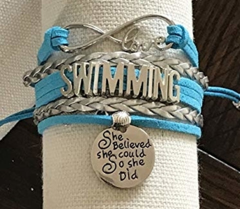 Girls Swim Infinity Bracelet Gift For Swimmers