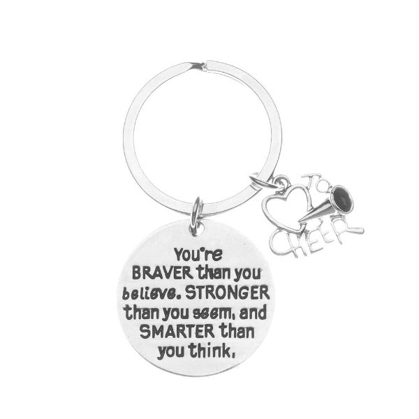 Cheer You're Braver than you Believe Inspirational Keychain