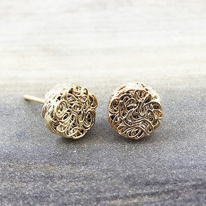 Gold Textured Circle Earring