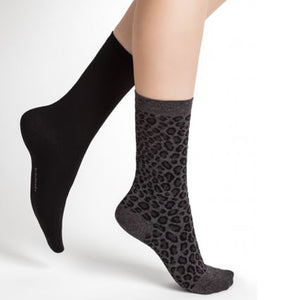 Leopard Pattern Cotton Socks (Pack of 2)