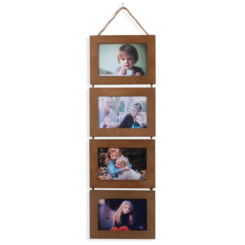 "WOODARIES  Collage Frame - 4"" x 6"" Display - Walnut"