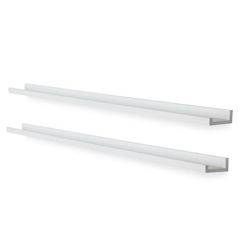 "DENVER Wall Shelf for Book Display and Photo Ledge – 60"" Length - White - Set of 2"