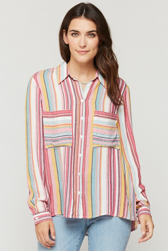 Pink Striped Parisa Button-Up