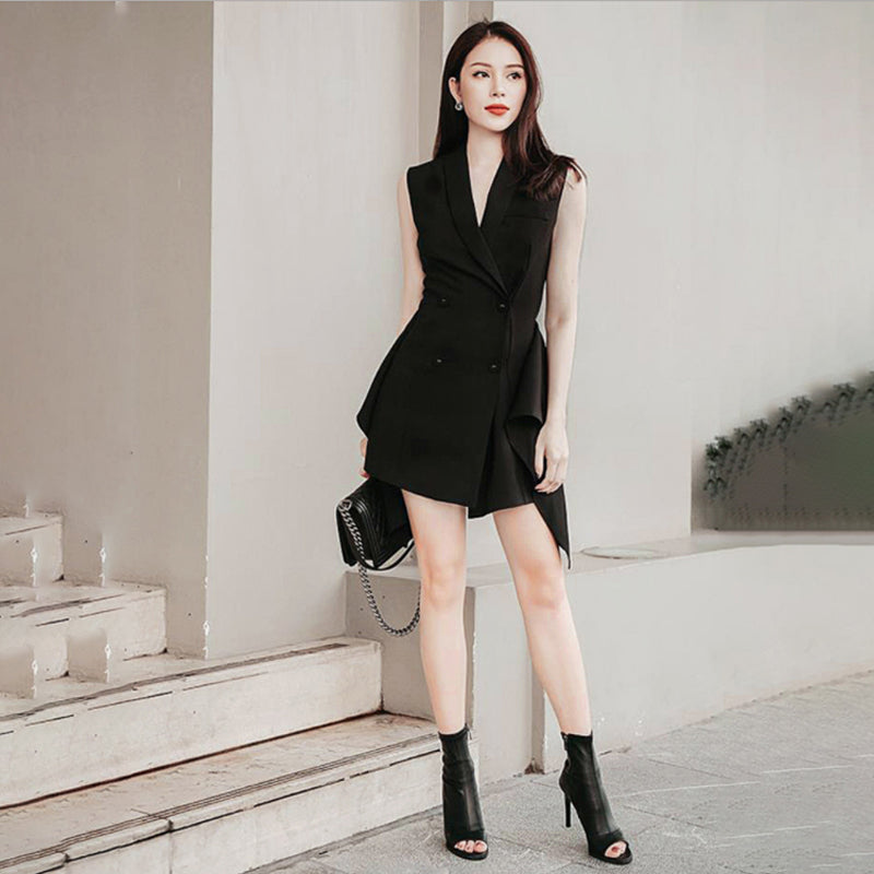 Renzo Asymmetric Suit Dress