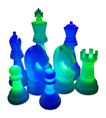 MegaChess 24 Inch Premium Plastic Light-Up Giant Chess Set - Blue and Green |  | MegaChess.com